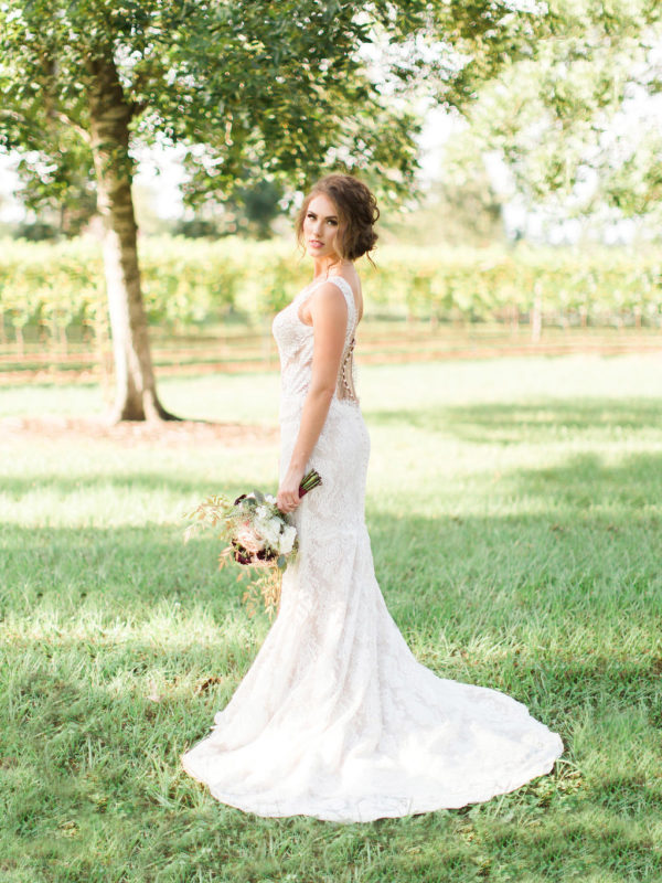 Bride in the vineyard at Wild Stallion
